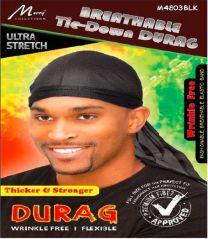 Murry Collection Breathable Tie-Down Durag Thicker & Stronger (Black)
