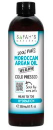 Safah's Natural 100% Pure Cold Pressed Moroccan Argan Oil Vegan Head to Toe Hydration 8.5oz