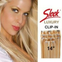 "Sleek Luxury EW Indian 4PCS Clip-In Human Hair Extension 14"" Inches"