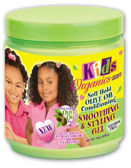 Africas Best Kids Organics Soft Hold Olive Oil Conditioning Smoothing & Styling Gel 15oz