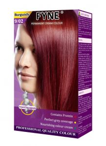 Fyne Permanent Grey Coverage Hair Colour Dye Cream Burgundy
