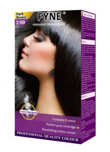 Fyne Permanent Grey Coverage Hair Colour Dye Cream Dark Brown