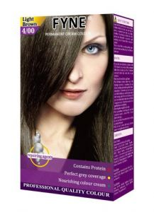 Fyne Permanent Grey Coverage Hair Colour Dye Cream Light Brown
