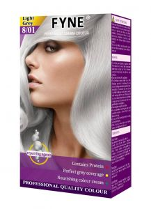 Fyne Permanent Grey Coverage Hair Colour Dye Cream Light Grey