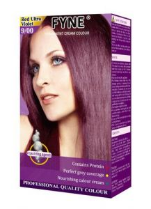 Fyne Permanent Grey Coverage Hair Colour Dye Cream Red Ultra Violet