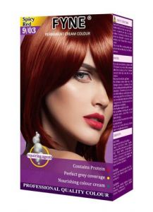 Fyne Permanent Grey Coverage Hair Colour Dye Cream Spicy Red