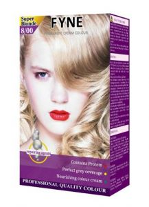 Fyne Permanent Grey Coverage Hair Colour Dye Cream Super Blonde
