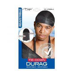 Magic Collection Tie Down Durag Adjustable Extra Long Tail (Black)