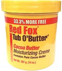 Red Fox Tub O'Butter Pure Cocoa Butter Moisturizing Cream 10.5oz